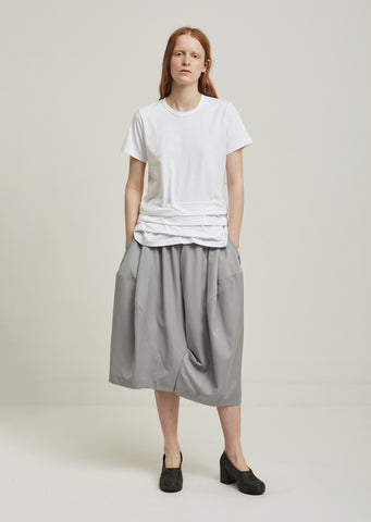 Wool Twill Formal Wide Leg Cropped Pants