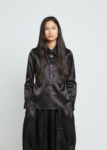 Satin Button Front Shirt