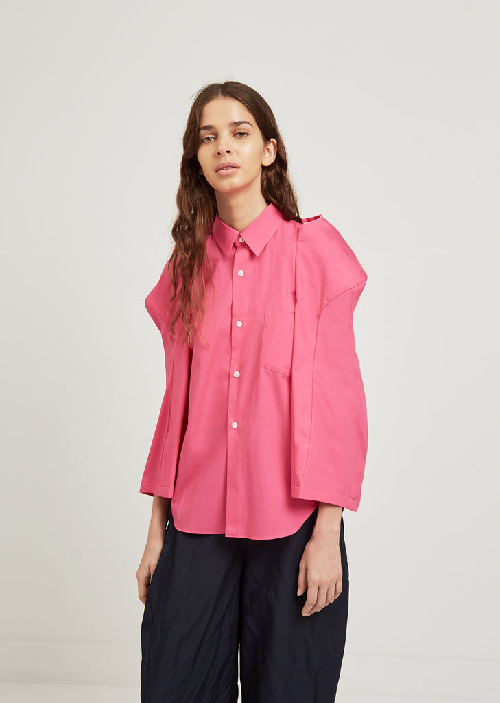 Broad Shirt With Exaggerated Sleeves