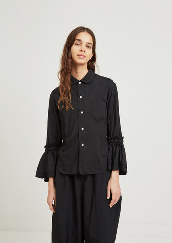 Garment Treated Shirt With Ruffle Sleeves