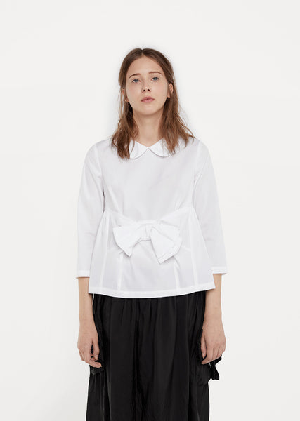 Front Bow Cotton Blouse