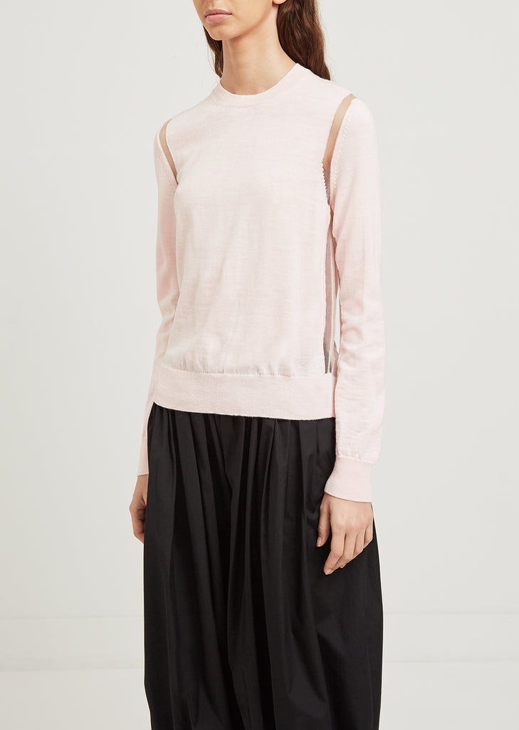 Tulle Detail Pink Sweater