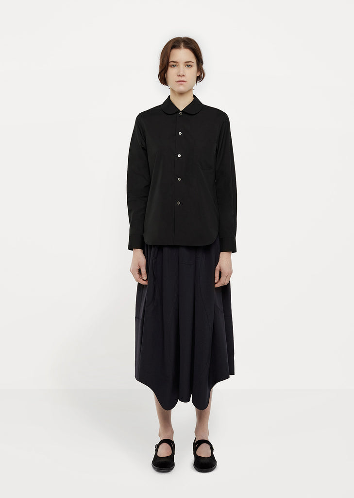 Rounded-Collar Black Cotton Shirt