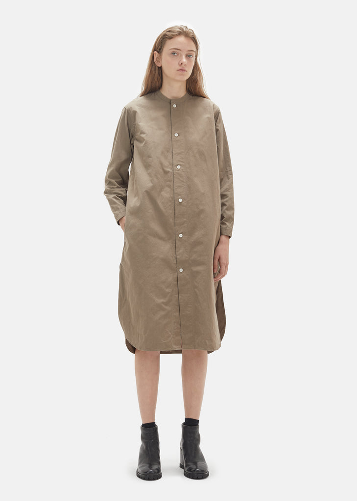 Vintage Washed Band Collar Shirt Dress