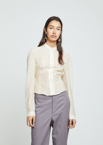 Fitted Officer Collar Muslin Shirt