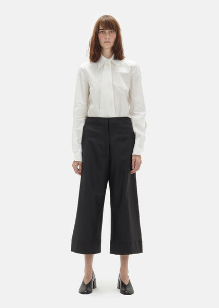 Wool Serge Large Cropped Pants