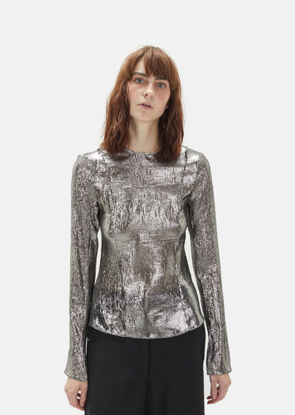 Metallic Silk Long Sleeve Top
