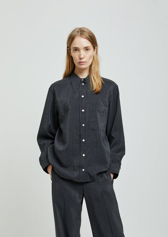 Pointed Collar Dry Silk Shirt