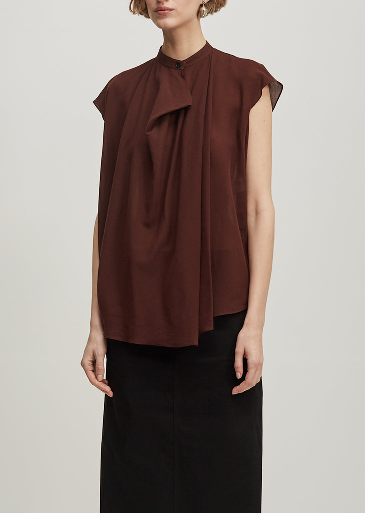 Draped Short Sleeve Blouse