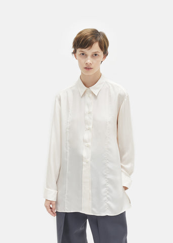 Silk Crepe Pointed Collar Shirt