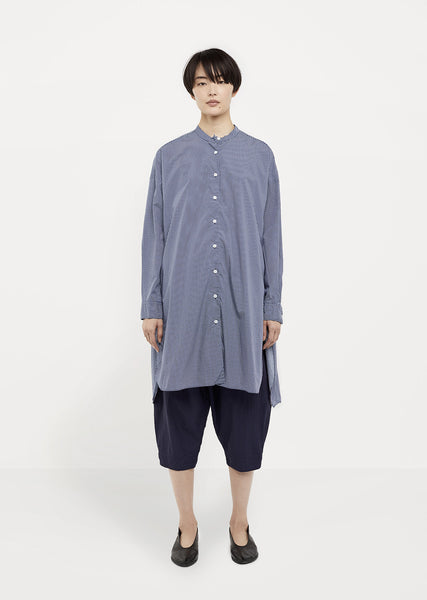 Oversized Mandarin-Collar Shirt