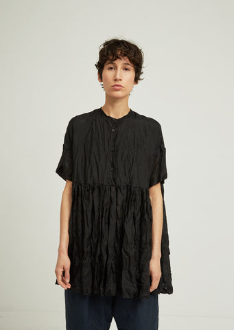 Bebe Silk Crinkle Pleated Shirt