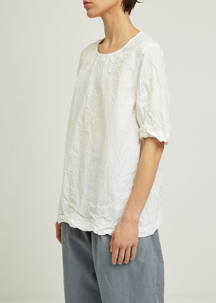 Femme Crinkled Cotton Short Sleeve Top