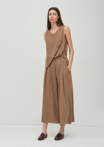 Silk Crepe Pleated Pants