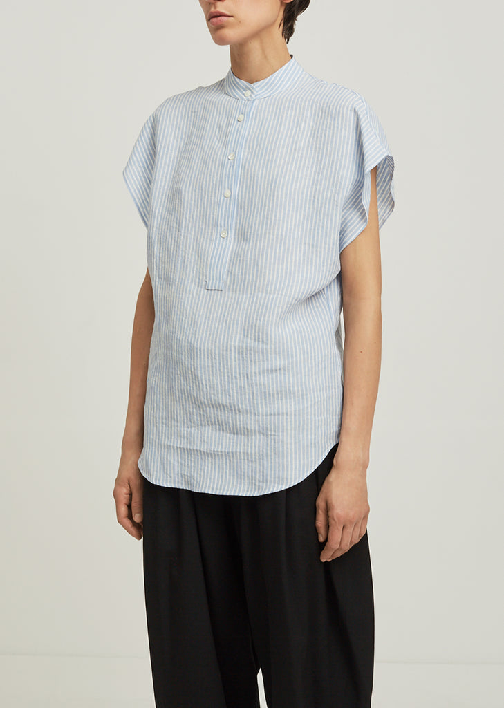 Striped Linen Mandarin Collar Blouse