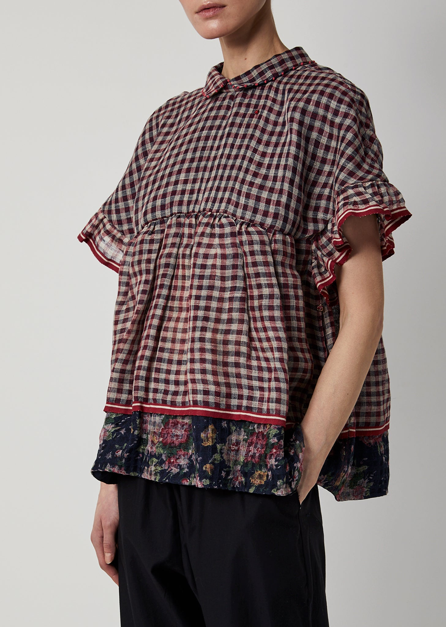 Linen Gingham Floral Print Top