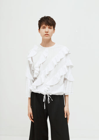 Ruffled Drawstring Hem Blouse
