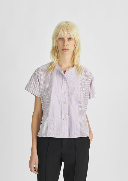 Larshey Striped Collarless Shirt
