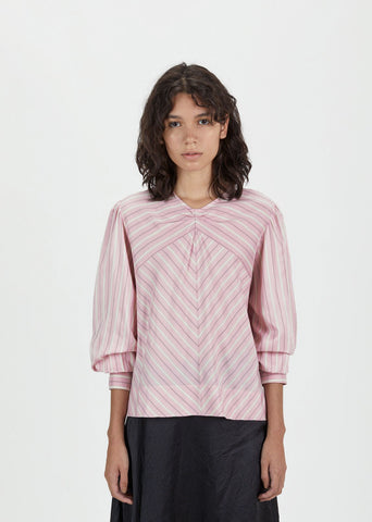Val Striped Roundneck Blouse