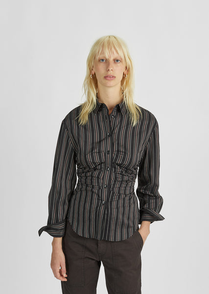 Verona Striped Gathered Shirt
