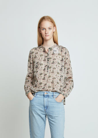Maria Printed Henley Blouse