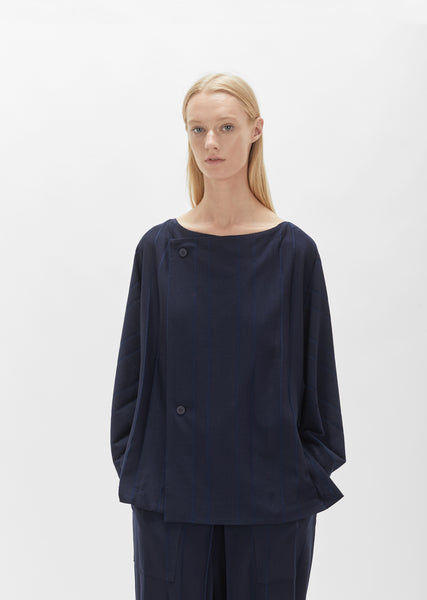 Parallel Jersey Button Blouse