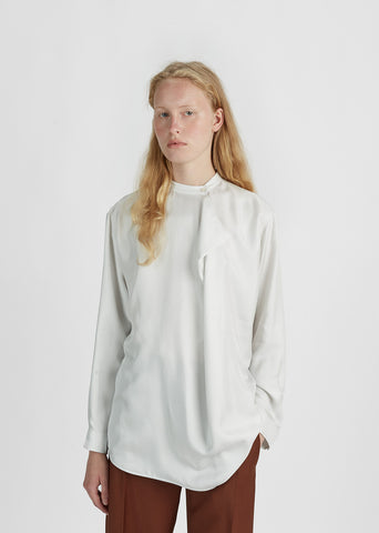 Dominique Silk Collarless Blouse