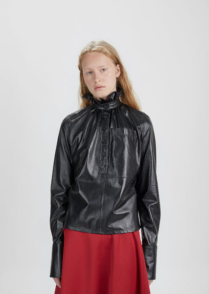 Leather Gathered Collar Top