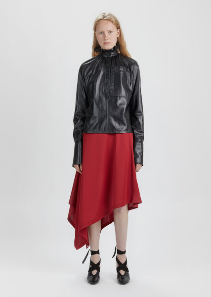 Asymmetric Side Button Skirt