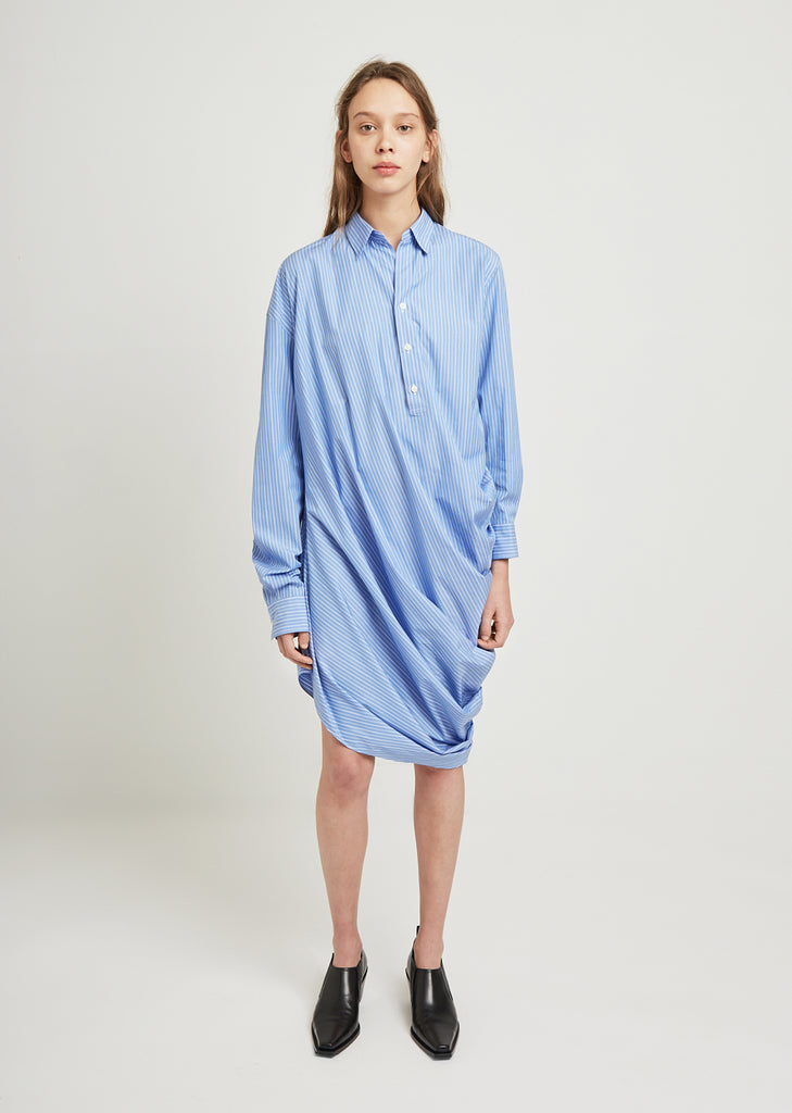 Cotton Poplin Stripe Draping Shirt