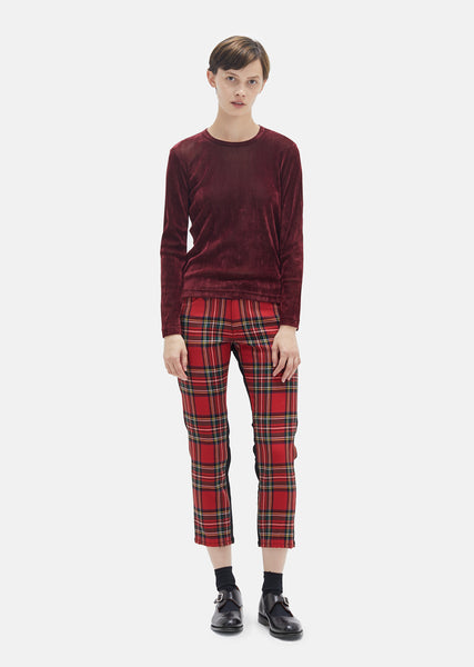 Wool Tartan Check Cotton Denim Trousers