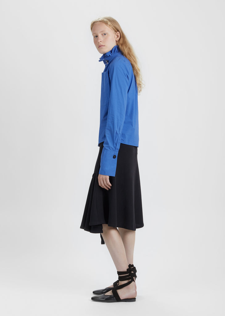 Washed Gathered Collar Top