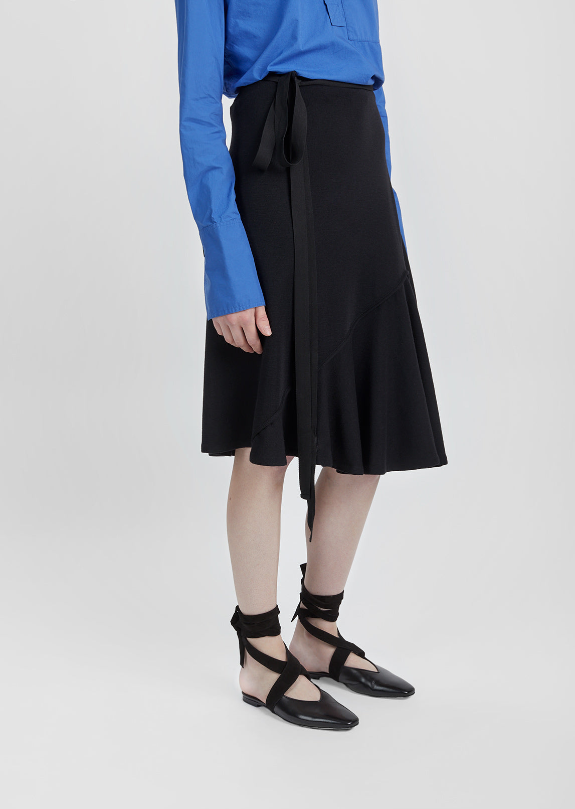 Drape Wool Asymmetric Skirt