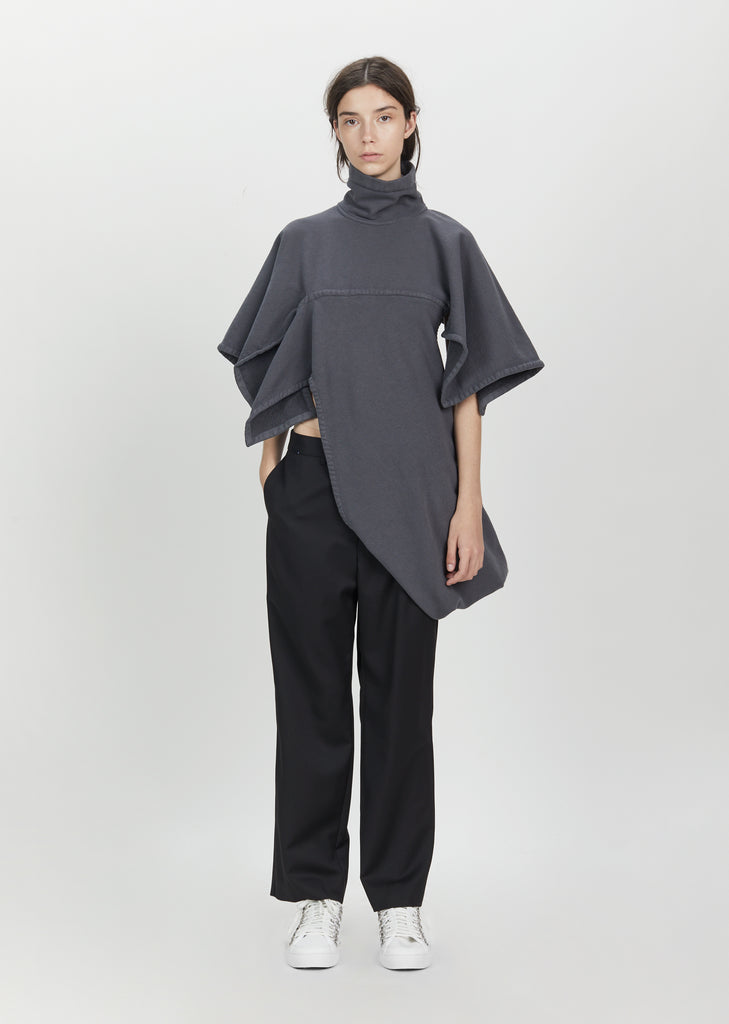 Graphite Asymmetric High Collar Jersey Top