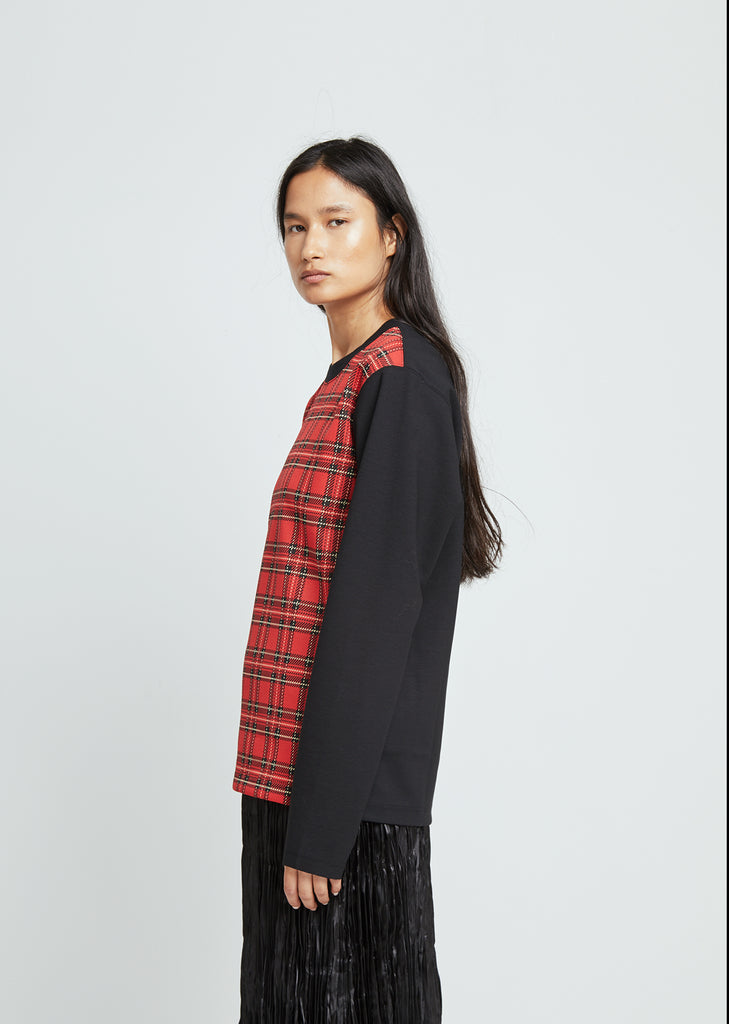 Plaid Crewneck Top