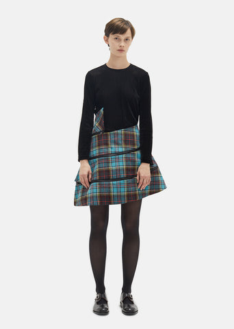 Wool Tartan Check Flared Skirt
