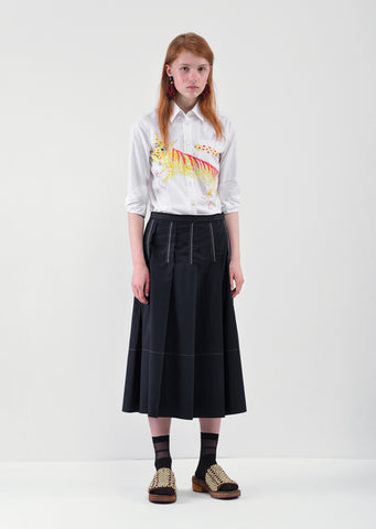Pintuck Contrast Stitch Skirt