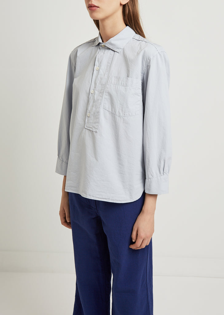 Asymmetric Collared Poplin Shirt