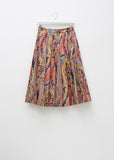 Paisley Pleated Poplin Skirt