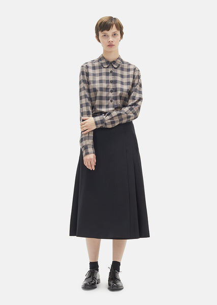 Lightweight Flannel Pleated Wrap Skirt