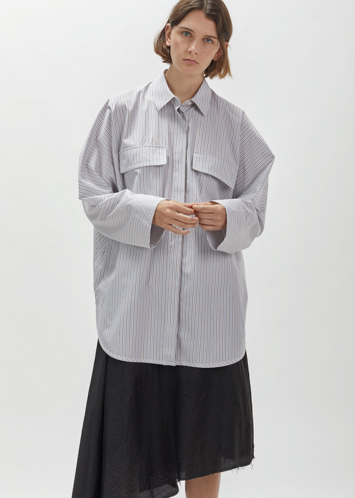 Pinstriped Poplin Shirt