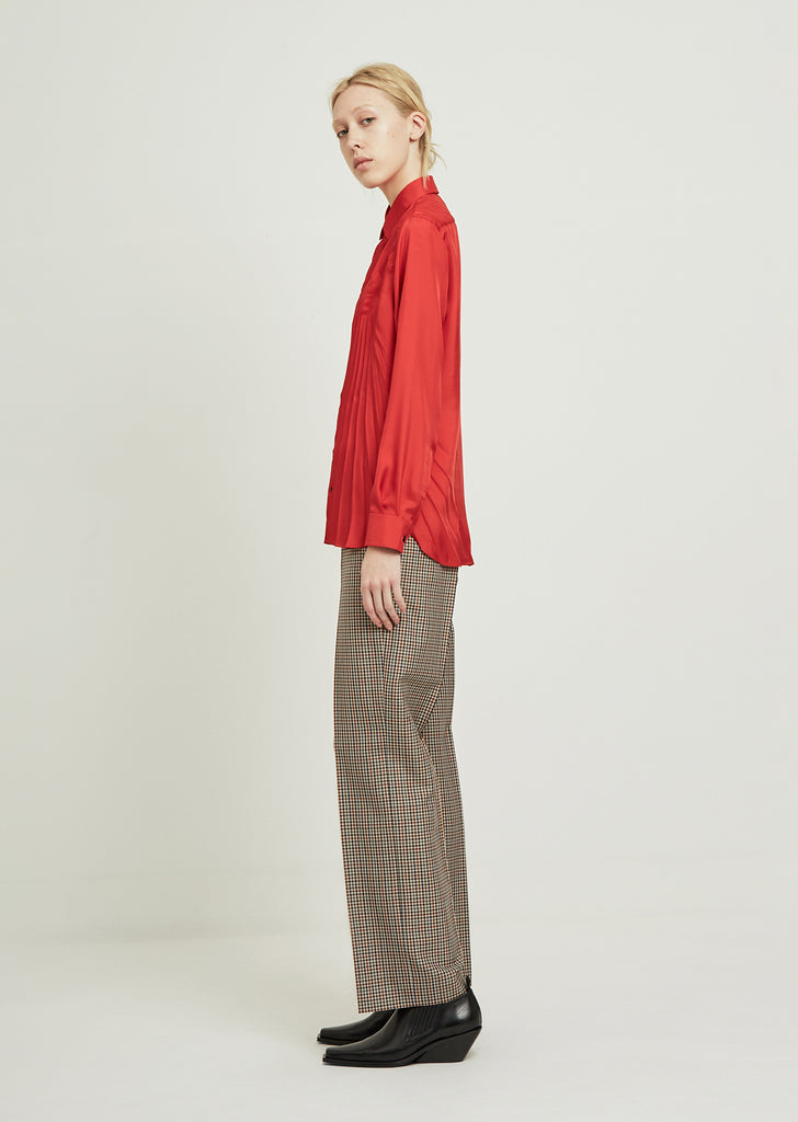 Poly Twill Pleated Shirt