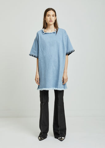 Oversized Denim T-Shirt With Lacing