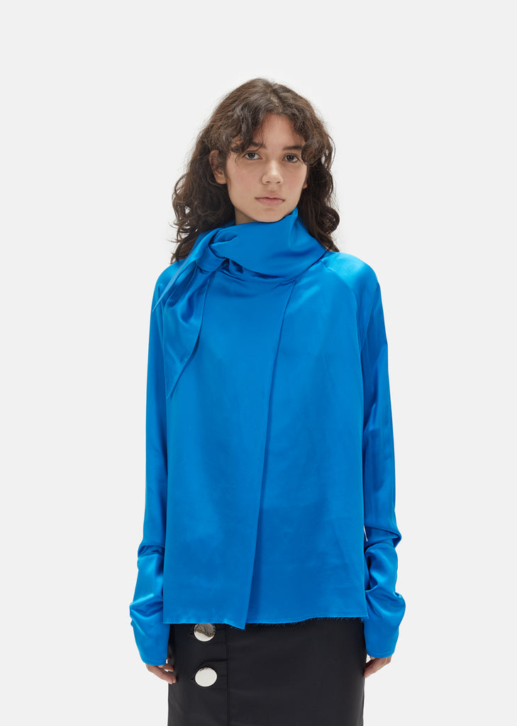 Crepe Satin Scarf Blouse