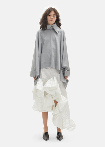 Crinkled Taffeta Long Frill Skirt