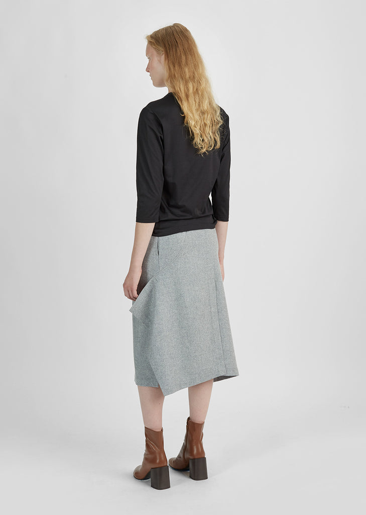 Merino Wool Flannel Belted Skirt