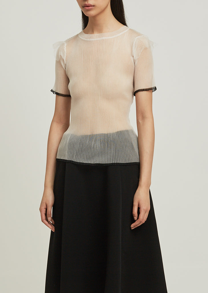 Cupro Silk Sheer Pleated Top