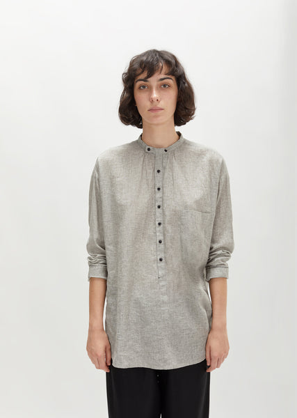 Linen Cotton Collarless Long Shirt