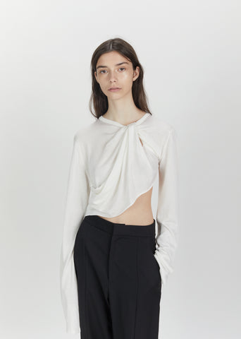 Twisted Asymmetrical Silk Knit Top