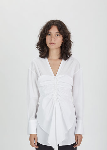 Cotton Poplin Gathered Front Blouse
